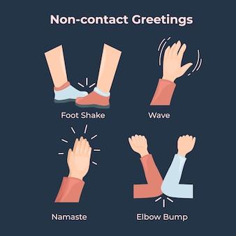 Concepto de saludos sin contacto