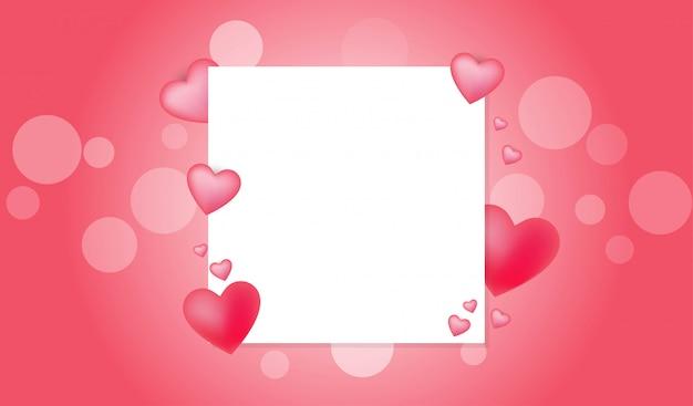Concepto de san valentín con espacio de copia de tarjeta blanca