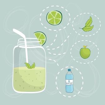 El concepto sano de la forma de vida con el icono del alimento diseña, vector el gráfico del ejemplo 10 eps.