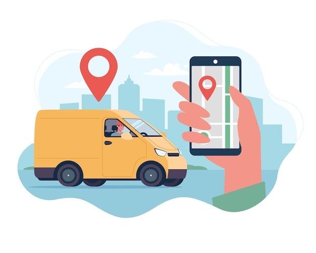 El concepto de seguimiento de la entrega de mercancías a su hogar por mensajería en una camioneta de carga.