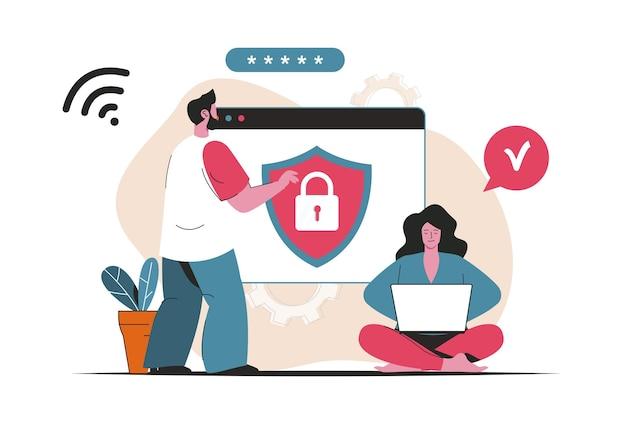 Concepto de seguridad cibernética aislado. protección de datos personales con contraseña, identificación. escena de personas en diseño plano de dibujos animados. ilustración vectorial para blogs, sitios web, aplicaciones móviles, materiales promocionales.