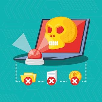 Concepto de seguridad cibernética de computadora portátil