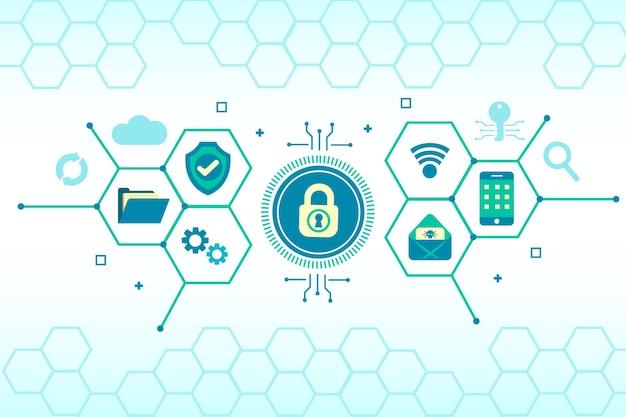 Concepto de seguridad cibernética con elementos tecnológicos.