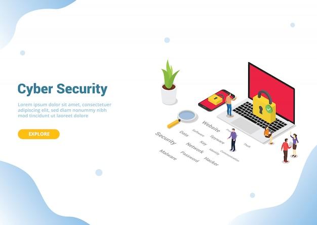 Concepto de seguridad cibernética isométrica para página web de inicio de aterrizaje de plantilla