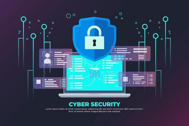 Concepto de seguridad cibernética de neón con candado y circuito