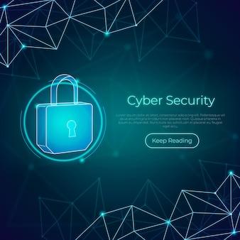 Concepto de seguridad cibernética de neón con candado