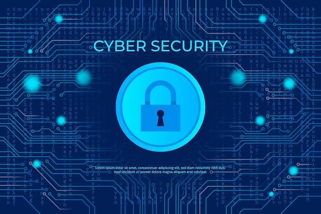Concepto de seguridad cibernética de neón con cerradura y circuito