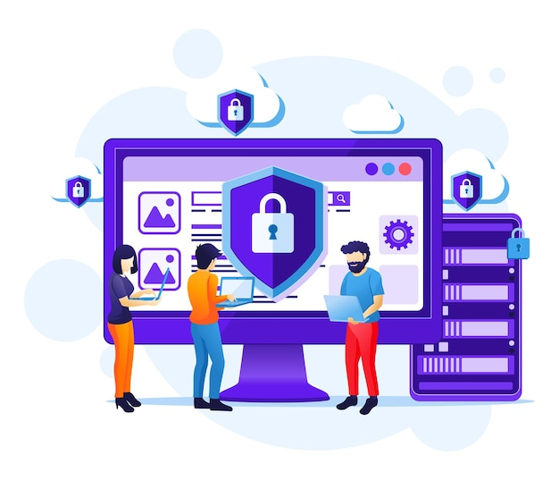 Concepto de seguridad cibernética, las personas trabajan en la pantalla que protege los datos y la ilustración de confidencialidad