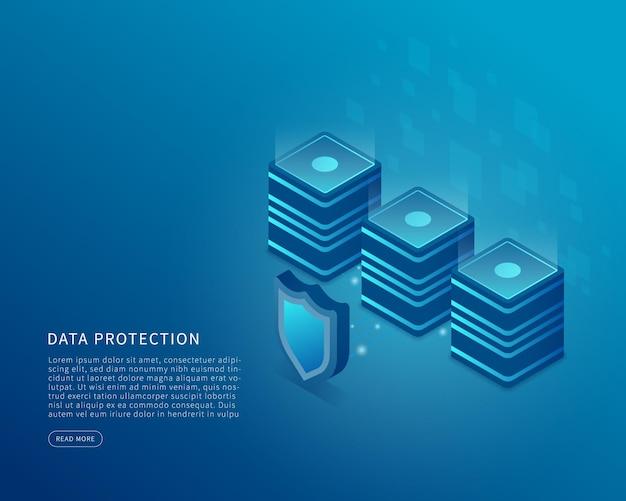 Concepto de seguridad de datos en ilustración vectorial isométrica sistema de protección de datos y servidor en línea ilustración vectorial