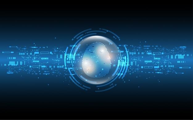Concepto de seguridad digital cibernética escaneo de huellas digitales