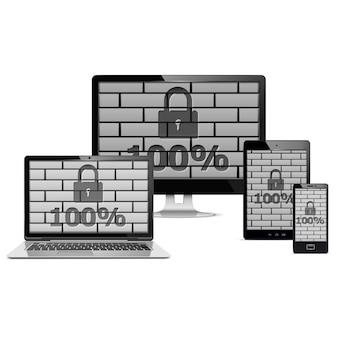 Concepto de seguridad de dispositivos electrónicos aislado en blanco