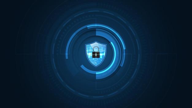Concepto de seguridad de escudo de guardia protegido 3d fondo de tecnología abstracta digital de seguridad cibernética