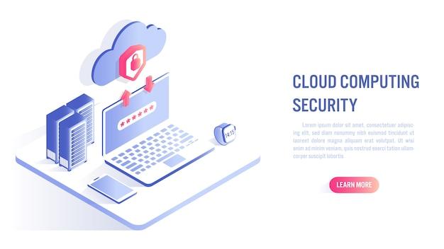 Concepto de seguridad informática en la nube. llamado a la acción o plantilla de banner web