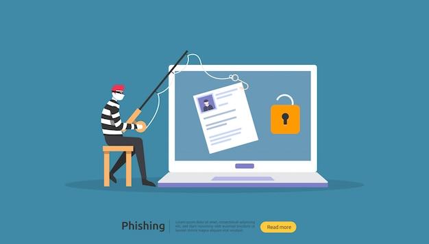 Concepto de seguridad de internet con carácter.