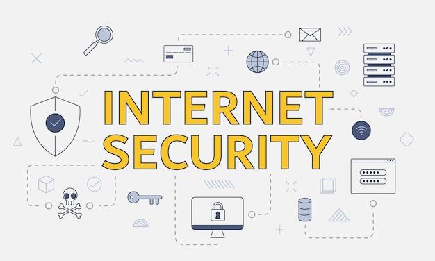 Concepto de seguridad de internet con conjunto de iconos con gran palabra o texto en la ilustración de vector de centro