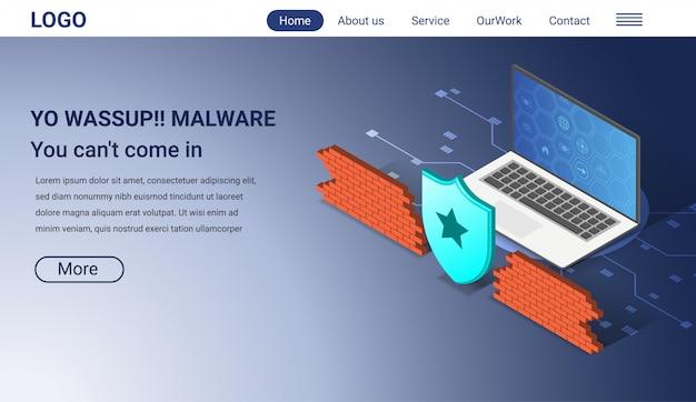 Concepto de seguridad de internet, plantilla de página de aterrizaje isométrica