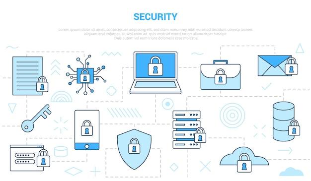 Concepto de seguridad con plantilla de conjunto de estilo de línea de icono con ilustración de vector de color azul moderno