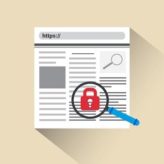 Concepto de seguridad y protección web icono de bloqueo búsqueda en la web