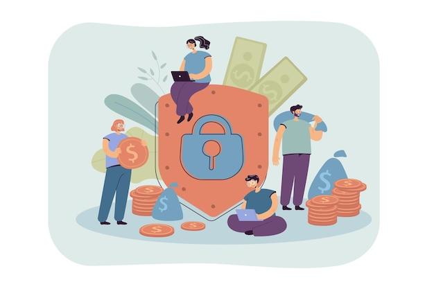 Concepto de seguridad y seguro financiero. ilustración de dibujos animados