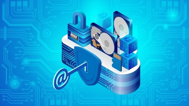 Concepto de seguridad del sistema del centro de datos en la nube.