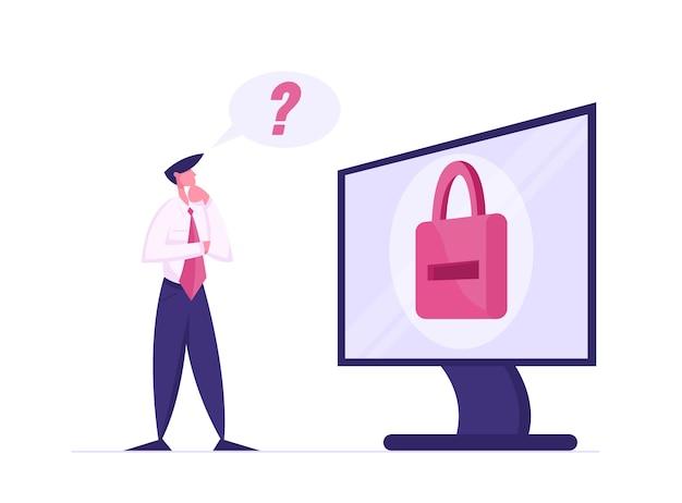 Concepto de seguridad web carácter de hombre de negocios pensativo tratando de iniciar sesión en su computadora