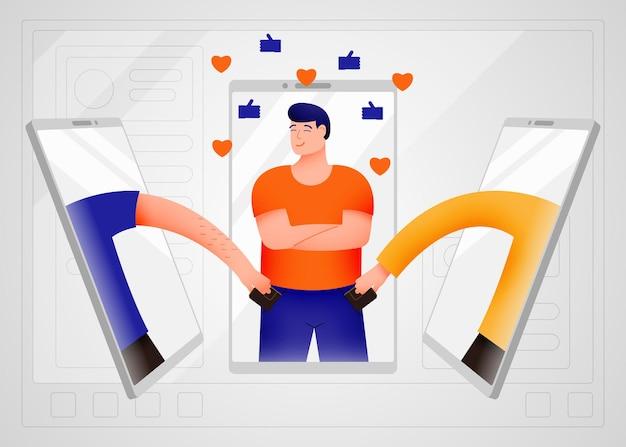 Concepto de seguridad web en redes sociales, fraude online y robo a través de internet.