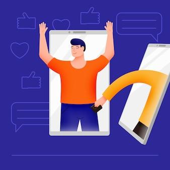Concepto de seguridad web en redes sociales, fraude y robo online, estafa de phishing.