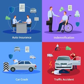 Concepto de seguro de auto con accidente de tráfico accidente y compensación aislado ilustración vectorial