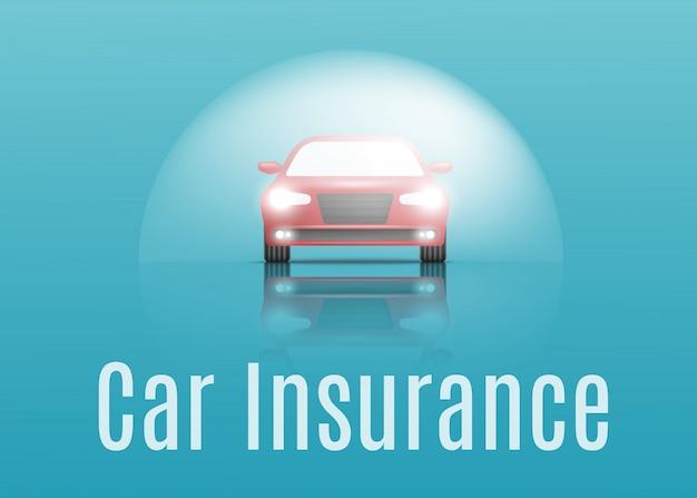 Concepto de seguro de automóvil. banner con texto