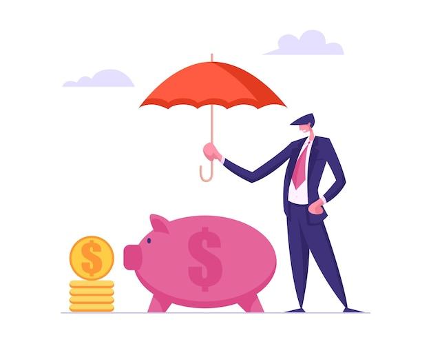 Concepto de seguro de dinero con empresario sosteniendo la ilustración de paraguas