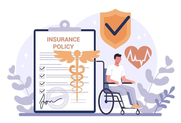 Concepto de seguro. idea de seguridad y protección de la vida y la salud. servicio sanitario y médico.