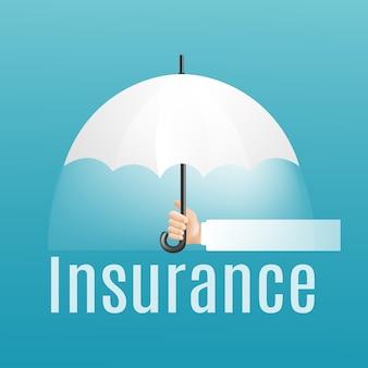 Concepto de seguro. de la mano con paraguas