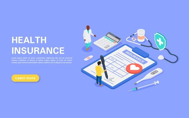 Concepto de seguro médico un hombre firma un contrato de seguro. un conjunto de objetos sobre el tema de la medicina. ilustración isométrica plana.