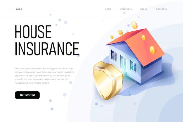 Concepto de seguro de propiedad isométrica de ilustración. el escudo de protección del hogar simboliza la seguridad de la casa. seguro de hogar isométrico. documento de casa y seguro.