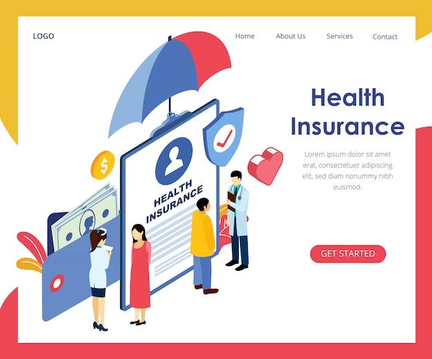 Concepto de seguro de salud banner ilustración isométrica de vector