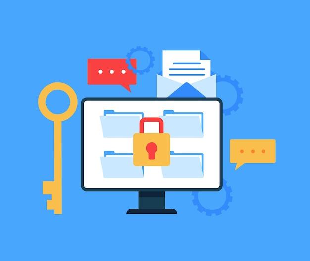Concepto seguro de transferencia de documentos de archivos de datos.