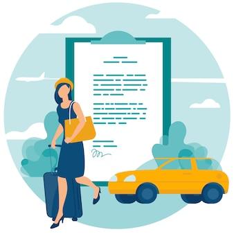 Concepto de seguro de viaje y automóvil