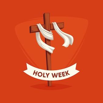 Concepto de semana santa plana