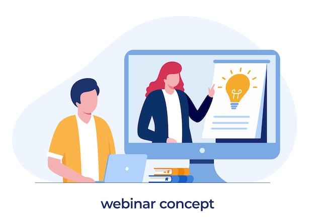 Concepto de seminario web, aprendizaje en línea, cursos y tutoriales, enseñanza, reunión de negocios, banner de ilustración vectorial plana
