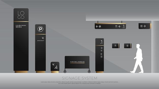 Concepto de señalización exterior e interior