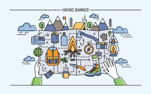 Concepto de senderismo, mochilero, vacaciones activas, viajes. banner horizontal con accesorios turísticos y hoguera, carpa, montaña. ilustración colorida en estilo lineart.