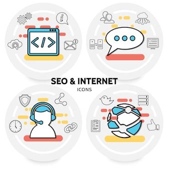 Concepto de seo e internet con engranajes de navegación web mensaje nube operador de red reloj globo