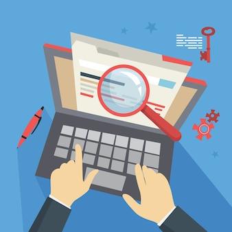 Concepto de seo. idea de optimización de motores de búsqueda para sitios web como estrategia de marketing. promoción de páginas web en internet. ilustración