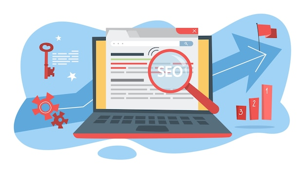 Concepto de seo. idea de optimización de motores de búsqueda para sitios web como estrategia de marketing. promoción de páginas web en internet. lupa hacer análisis. ilustración