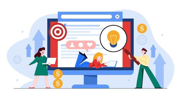 Concepto de seo. idea de optimización de motores de búsqueda para sitios web y redes sociales como estrategia de marketing. promoción de páginas web en internet. ilustración