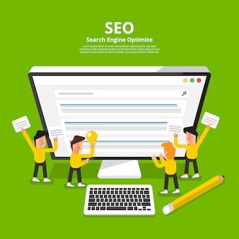 Concepto seo (optimización de motores de búsqueda). ilustrar.