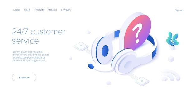 Concepto de servicio 24/7 o centro de llamadas en ilustración vectorial isométrica. 24 horas al día, 7 días a la semana o con atención al cliente ininterrumpida. plantilla de diseño de autoservicio móvil para banner web.