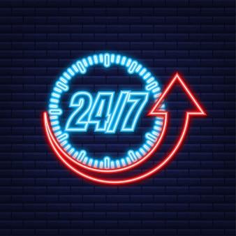 Concepto de servicio 24 horas al día, 7 días a la semana. 24-7 abierto. icono de neón. icono de servicio de soporte. ilustración de stock vectorial.