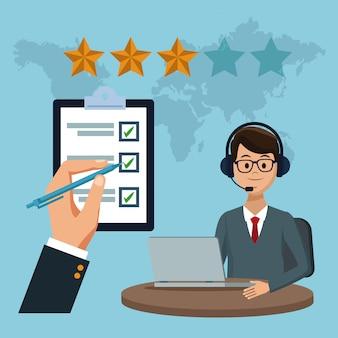 Concepto de servicio al cliente de alta calidad