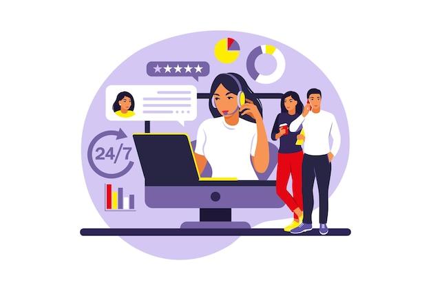Concepto de servicio al cliente. mujer con auriculares y micrófono con laptop. soporte, asistencia, call center. ilustración. estilo plano